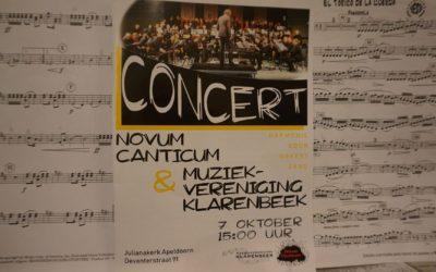 Concert samen met Novum Canticum 7 oktober 2018